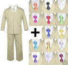 6pc Boy Kid Teen Formal Wedding Khaki Stone Suit Tuxedo Extra Satin Necktie 5-20