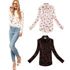 Hot Stand Collar Button Chiffon Red lip Print Long Sleeve Shirt Tops Blouse