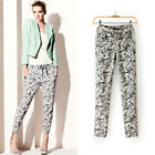 Celebrity Slim Chic Flower Printed Casual Drawstring Chiffon Pant Trousers
