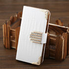 leather luxury shining Crystal Flip Wallet bling case cover skin for iPhone 5 5S
