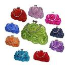 New Satin Silk Rose Plain Flower Wedding Evening Handbag Prom Clutch 14 Colours