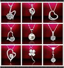 Ladies Genuine 18K White Gold CZ Crystal Lovely Pendant Silver Necklace Box925