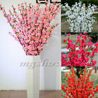 "49.22"" Artificial Cherry Plum Spring Peach Blossom Spray Branch Silk Flower Tree"