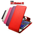 5 COLOUR PU LEATHER MOBILE PHONE PROTECTIVE FLIP CASE COVER FOR HTC WINDOWS 8S