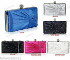IVORY BLUE PINK BLACK NAVY Satin Diamante Hard Case Clutch Bridal Bag #080