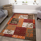 New Warm Red Orange Modern Patchwork Rugs Small Large Living Room Carpet Rugs