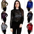 New Ladies Womens Mesh Knitted Long Sleeve Neon Jumper Top Size 8 10 12 14