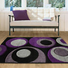 New Modern Purple Black Lilac Grey Bubbles Rug Large Small Circles Area Mat UK