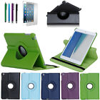 360 Degree Rotating PU Leather Stand Case Cover For Apple iPad Mini +Stylus&Film