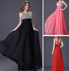 Ladies Long Chiffon Wedding Party Beaded Formal Prom Gowns Bridesmaid Dresses