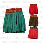 Womens Ladies Mini Chiffon Pleated Maxi Gypsy Belted Detail Skirt Casual Pa