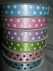 Spot Dot Dotty Spotted 16mm Satin Ribbon - 20yard (18m) Roll choice of 6 colours