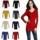 Chic Women V-Neck Button Slim Fit Long Sweater Knitwear Pullover Tops 8 Colors