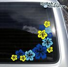 Pair of Hibiscus Corner Flowers Blue/Yellow Vinyl Decal flower car sticker F045