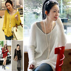 New Womens knitwear Sweater Long Sleeve Cardigan Loose Jumper Tops V neck Casual