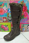 Marco Tozzi Flat Cafe Brown Zip Up Elastic Knee High Fur Trim Winter Boots New