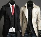 US F1038 New Mens Casual Double Breasted Trench Slim Fit Coats Jackets 2 COLOUR