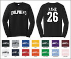 Dolphins Custom Personalized Name & Number Long Sleeve Jersey T-shirt