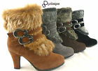 NEW Womens Fashion Faux Fur Boots Pump High Heels Zipper Winter Strap Buckles
