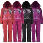 GIRLS KITTY PRINT TRACKSUIT KIDS JOGGING BOTTOM ZIP TOP 2 PIECE SUIT 3-12 YEARS