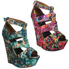 WOMENS LADIES PINK FLORAL PEEPTOE PLATFORM HIGH WEDGE STRAPPY SUMMER  SHOES SIZE