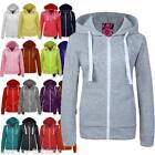 Ladies Womens Plain Marl Patched Zip Fleece Hoodie Hoody Sweatshirt Size 8 - 16