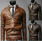 Newest Fashion Zipper Collar Coat Slim Fit Men's Elegant PU Leather Short Jacket