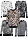 WOMENS LADIES LONG WRANGLER SLEEVE WARM SWEATSHIRT WAFFLE TOP HEART TIGER PRINT