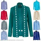 New Womens Ladies Knitted Twinset Cardigan Jumper Top Size 8 10 12 14 S M L XL