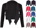 Womens Plain Long Sleeves Ladies Front Open Cropped Shrug Bolero Blazer Jacket