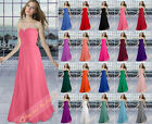 Simple Strapless Bridesmaid Party Prom Evening Dresses Formal Gowns Size 6-26