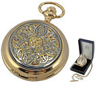 MENS GOLD PLATED CELTIC POCKET WATCH A E Williams Quartz Hunter Luxury Gift NEW