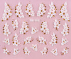 3D Flowers & Butterflies Nail Stickers with Silver or Gold Gem Style Droplets
