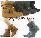 NEW Womens Shoes Ankle Boots Slouch Comfort Casual Flat Strap Buckle Round Toe