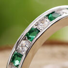 Emerald & Diamonds (Created) 18K White GP Ring *RA016* choose your ring size