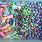 20 - 100pcs Colourful Polymer Clay Curved Tubes  Beads Love Heart Smarties Shape