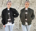 MA1 Flight Bomber Jacket Military Urban Girls Ladies Vintage Pattern New Black