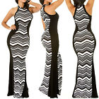 Womens Mermaid Long Maxi Dress Stripe Print Contrast Color Halter Black&White