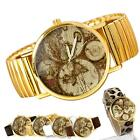 2013 Fashion Unisex Map Style leather alloy Round Wristwatch Quartz Watch Gifts
