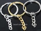 10pcs 30mm Silver/Golden Plated Key Ring Chain Findings