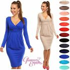 Sexy Long Sleeve V Neck Stretchy Cocktail Office Pencil Jersey Dress UK 6-28 285
