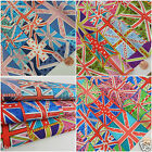 "PER fat quarter UNION JACK CELEBRATION 3 COLOURS 18 x 22 ""  100% cotton"