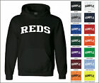 Reds College Letter Team Name Jersey Hooded Sweatshirt