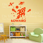 Space Rocket Planets Solar System Satelit Custom Name Vinyl Wall Decal Sticker