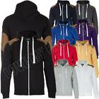 New Mens Teens Quilted Patched Sweatshirt Hoody Hoodie Jacket Size S M L XL XXL