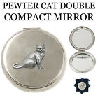 PEWTER CAT DOUBLE COMPACT MIRROR New Hand Made Womens Ladies Gift Box ENGRAVABLE