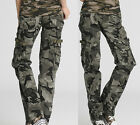 Womens Ladies Camouflage Cargo Jeans Combat Trousers Army Military Pants 4 Sizes