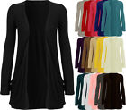 New Womens Plain Stretch Ladies Pocket Long Sleeve Open Cardigan Top 8-22