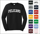 pelican sports team - Pelicans College Letter Team Name Long Sleeve Jersey T-shirt
