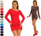 Sexy Stretch Bodycon Jersey Dress Long Sleeve Tunic  UK 6-18 24h Dispatch 941